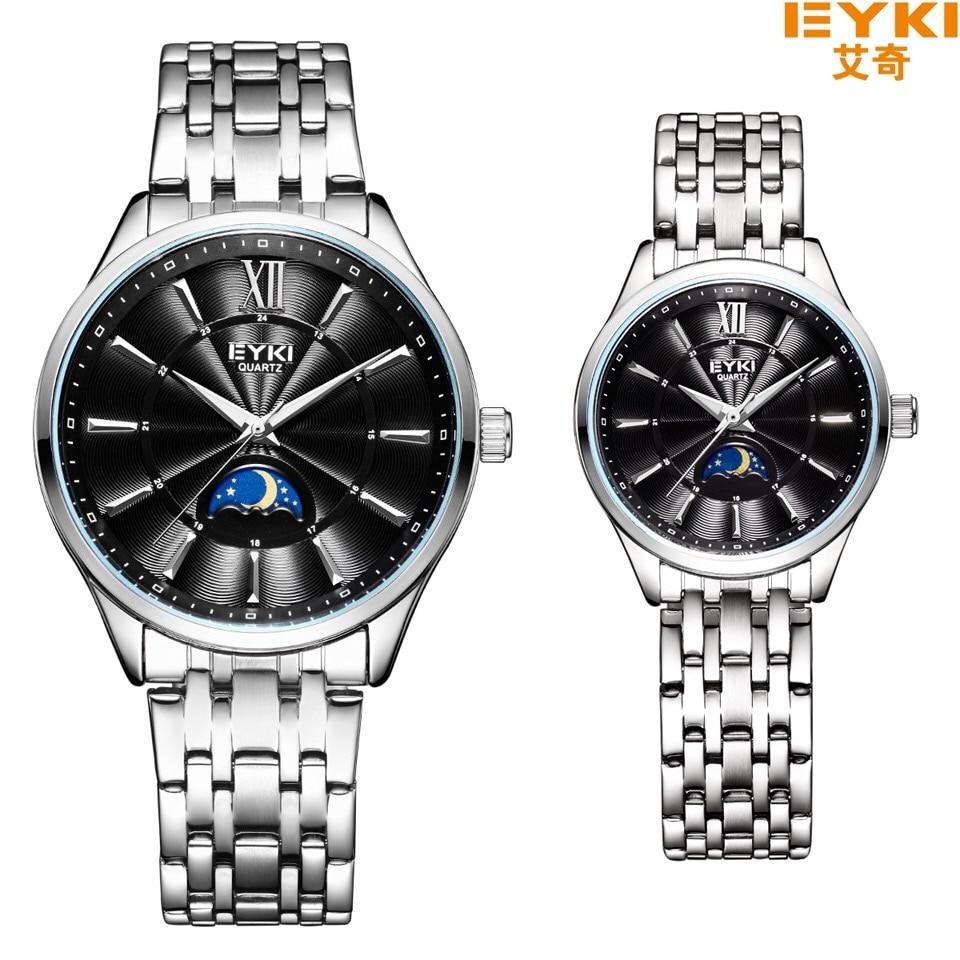 Eyki Top Brand Luxury Watch Men Brand Mens Watches Stainless Steel Mesh Band Quartz Wristwatch Sun Moon And Stars Dress Watch Watches