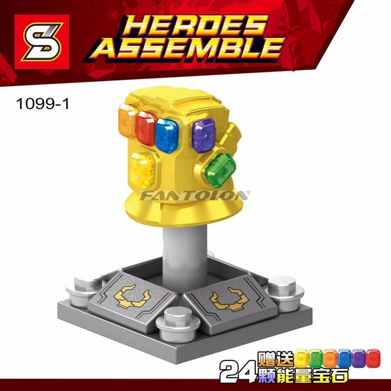 Legoinglys Thanos Infinity Gauntlet With 24Pcs Power Stones Gloves Building Blocks Toys Super Heroes Children Gift 1099-1 single sale chromed infinity gauntlet with 24pcs power stones vision super heroes building blocks children gift toys sy1099 2