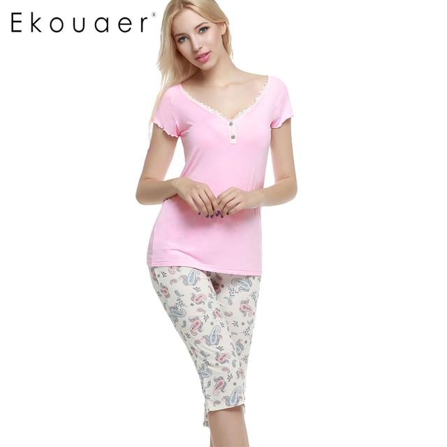 Ekouaer Women Pajama Sets Short Sleeve Sleepwear Short Sleeve Pajama Set With Pocket Shorts Pant printed cute Nightgown