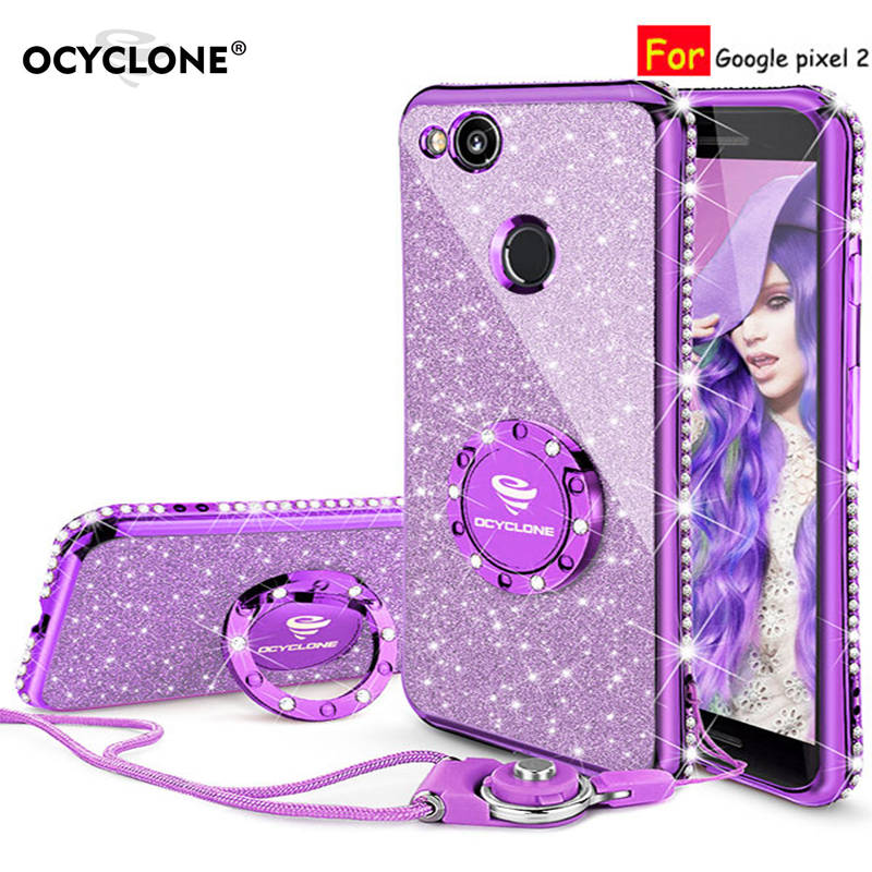 For Google pixel 2 case 16:9 Luxury 360 Degree Full Body Phone Case kickstand Housing Diamond Bling Glitter Purple Soft Slim