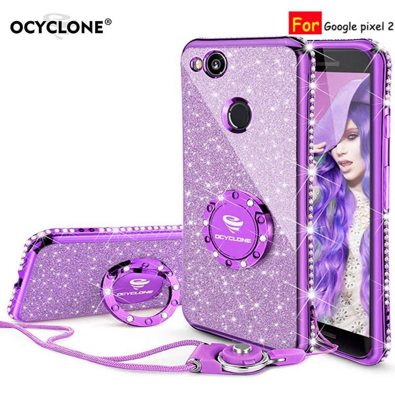 For Google pixel 2 case 16:9 Luxury 360 Degree Full Body Phone Case kickstand Housing Diamond Bling Glitter Purple Soft Slim