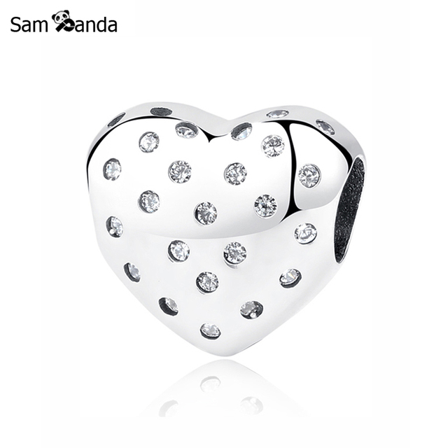 2a8b22927 Original 100% 925 Sterling Silver Bead Charm Sparkling Heart Charms Love  Fit Pandora Bracelets DIY Women Jewelry Making