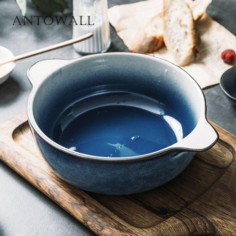 ANTOWALL ménage céramique grand bleu épais bol à soupe Style nordique chinois Double oreille bol bonne recherche soupe nouilles bol Xing