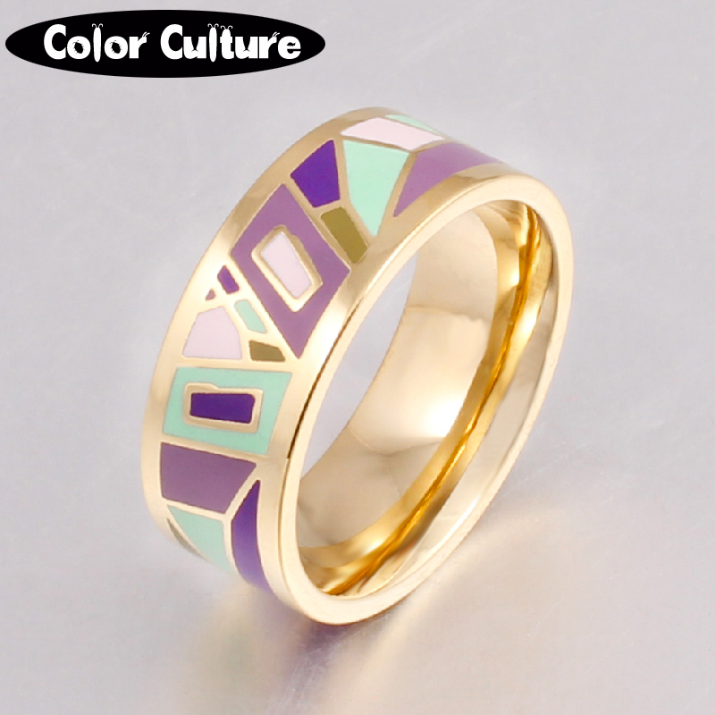 New Brand Exclusive Beautiful Geometry Color Vintage Enamel Ring 0.8cm Width gold Rings for Women Ethnic Jewelry Promotions