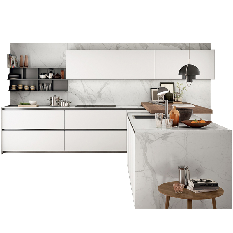 Minimalist Style White Color Modern Kitchen Cabinet With Artificial Marble Countertop