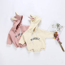 Todder Kids Rompers Baby Girls Boys Rabbit Letter Sweatshirt Tops Romper Pullover Playsuit Long Sleeve Infant Jumpsuit Clothes(China)