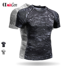 CDmixGem Men Sport Fitness Bodybuilding Gym T-shirt Men Compression Tights Running Basketball Crossfit Under Tee Tops