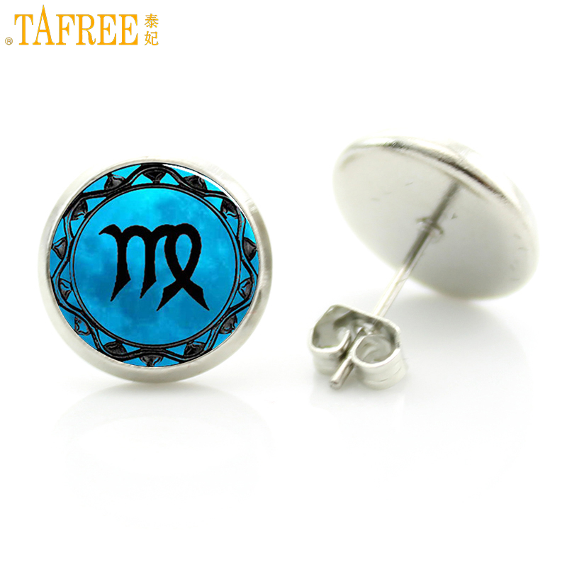 TAFREE novelty fashion blue 12 signs of the zodiac men women jewlery vintage handmade stud earrings for gift D1149