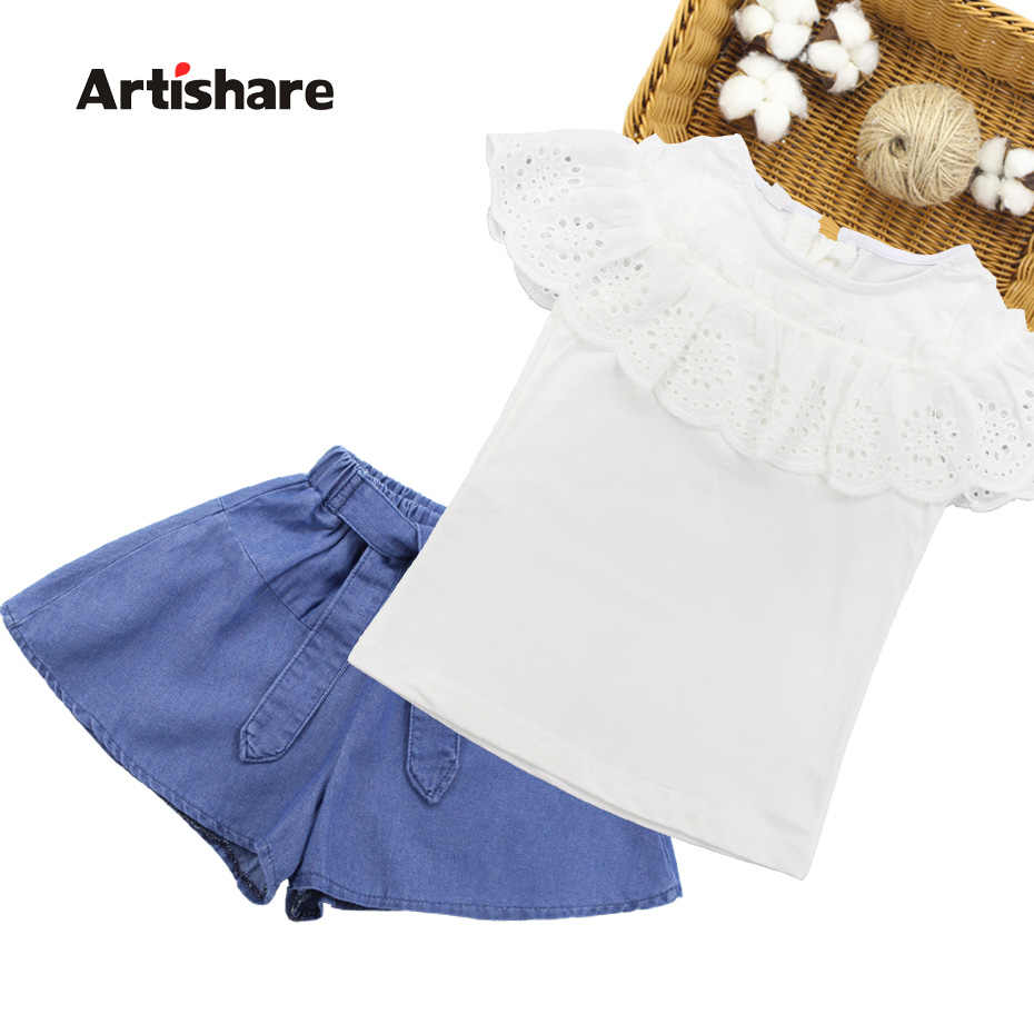 d5eb7f52ec Detail Feedback Questions about Girls Summer Clothes Lace Shirt + ...