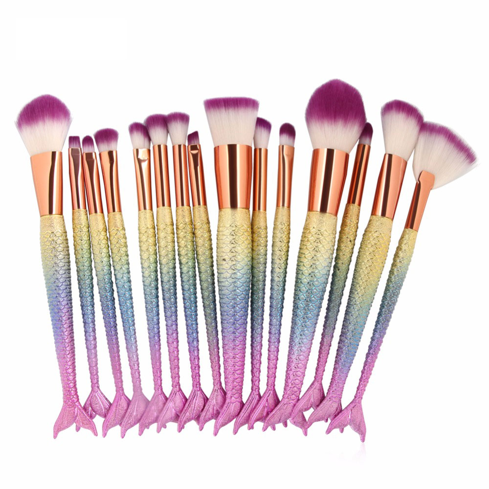 15PCS Mermaid Makeup Brushes Set Foundation Blending Powder Eyeshadow Contour Concealer Blush Cosmetic Beauty Make Up Tool Kit focallure 10pcs makeup brushes set foundation blending powder eyeshadow contour blush brush beauty cosmetic make up tool kit