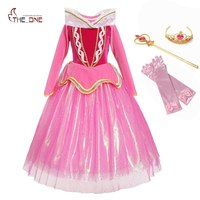 MUABABY Girls Sleeping Beauty Princess Dress Up Children Deluxe Sequined Fancy Frocks Kids Girl Carnival Birthday Party Costume Dresses Mother & Kids -