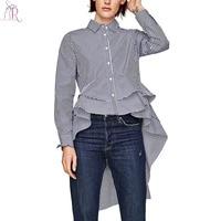Blue Stripe Ruffle Dipped High Low Hem Shirt Autumn Long Sleeve Buttons Up Turn Down Collar