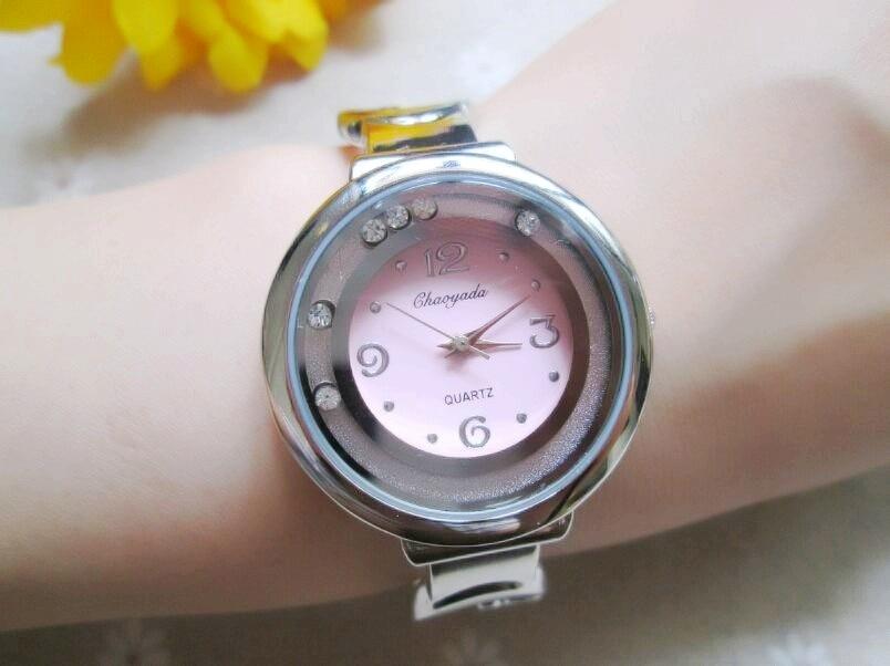 Fashion Ladies Stainless steel Diamond Hour clock Jewelry Bangle Bracelet Women Dress Casual Wrist Watches 2015 Promotion promotion women