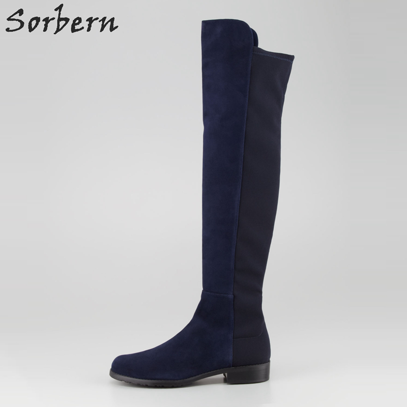 Sorbern Knee High Low Heel Boots Fashion Shoes Woman Patchwork Boots For Elderly Women Custom Colors Booties Womens Size 33-46 sorbern white platform shoes knee high boots for women wedge high heel ladies shoes booties womens shoes custom colors big size