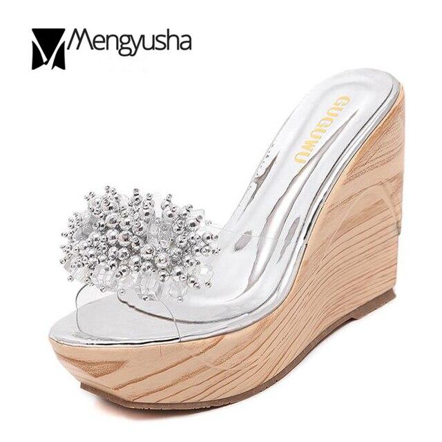 63f37b45 Colgante de cristal transparente verano Zapatos Europea diseñador plataforma  abalorios Sandalias mujeres cuñas Zapatos grueso Tacones