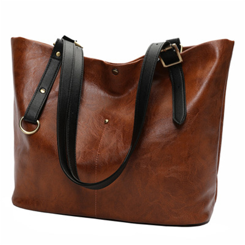 Fashion Women Bag Oil Wax Leather Handbags Luxury Lady Hand Bags with Purse Pocket Women Shoulder Bag Big Tote Sac Bolsos Mujer women bag oil wax women s leather handbags luxury lady hand bags with purse pocket women messenger bag big tote sac bolsos mujer