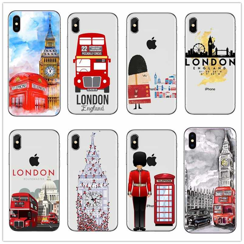 French London big ben Bus Hard Phone Case for iPhone X XS XSMAX XR 8 8Plus 7 7Plus 6 6S Plus SE Famous British landscape Cover