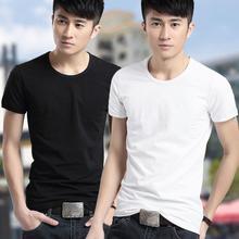 цена на Casual cotton slim shirt men's round neck short-sleeved T-shirt free shipping