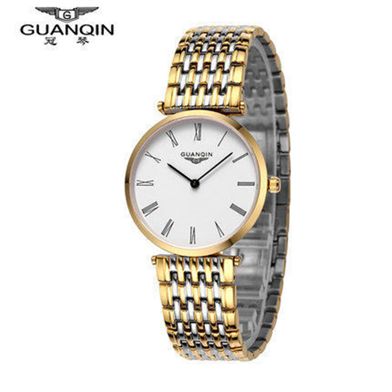 ФОТО  GUANQIN Men Watch Quartz Clock Stainless Steel Shockproof Waterproof Gold Man Wristwatches