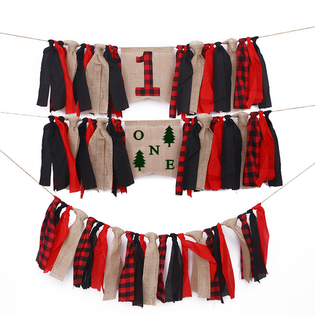 Lumberjack First 1st Birthday Boy Party Highchair Bunting Banner Garland Woodland Baby Shower Decorations