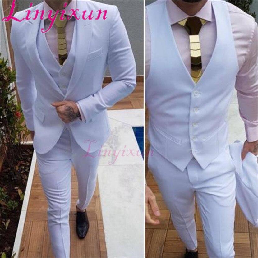 0f4fbdc69a5383 Linyixun White Jacket+Pants+Vest 3 Pcs Men Business Party Suit Groom  Wedding Prom Tuxedos Custom Suit Prom Man Suits Tuxedo Suit