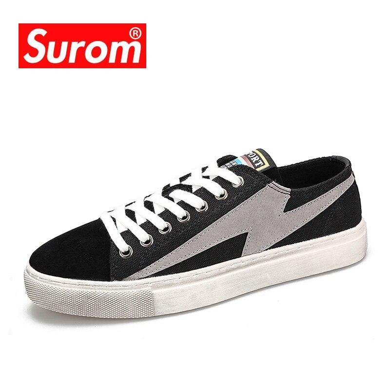 SUROM Krasovki Sapatas Dos Homens Primavera Sapatos Casuais Novo 2018 Masculino Moda Lace Up Canvas Sneakers Sujo Velho Estilo Skate Sapatos