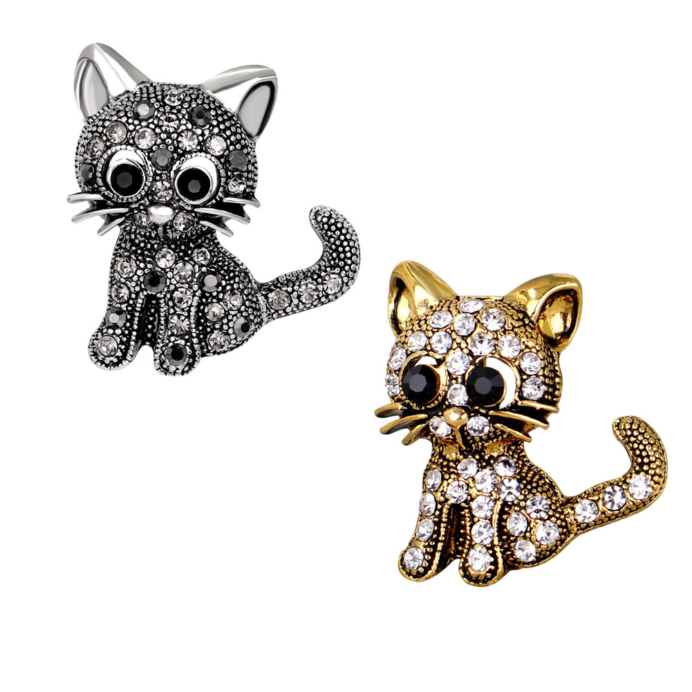 1Pcs Cute Little Cat Brooches Pin Up Jewelry For Women Suit Hats Clips Corsages Brand Bijoux Brooch