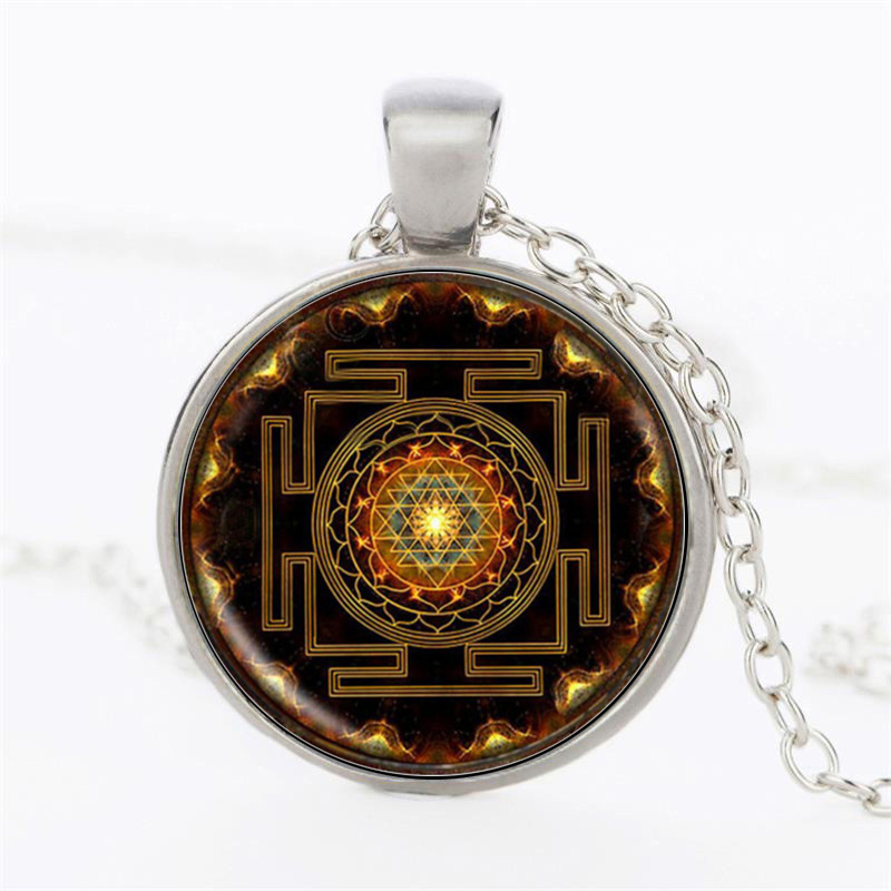 5pcs Antique Silver Tone Large Sri Yantra Meditation Charms Pendants 44x40mm