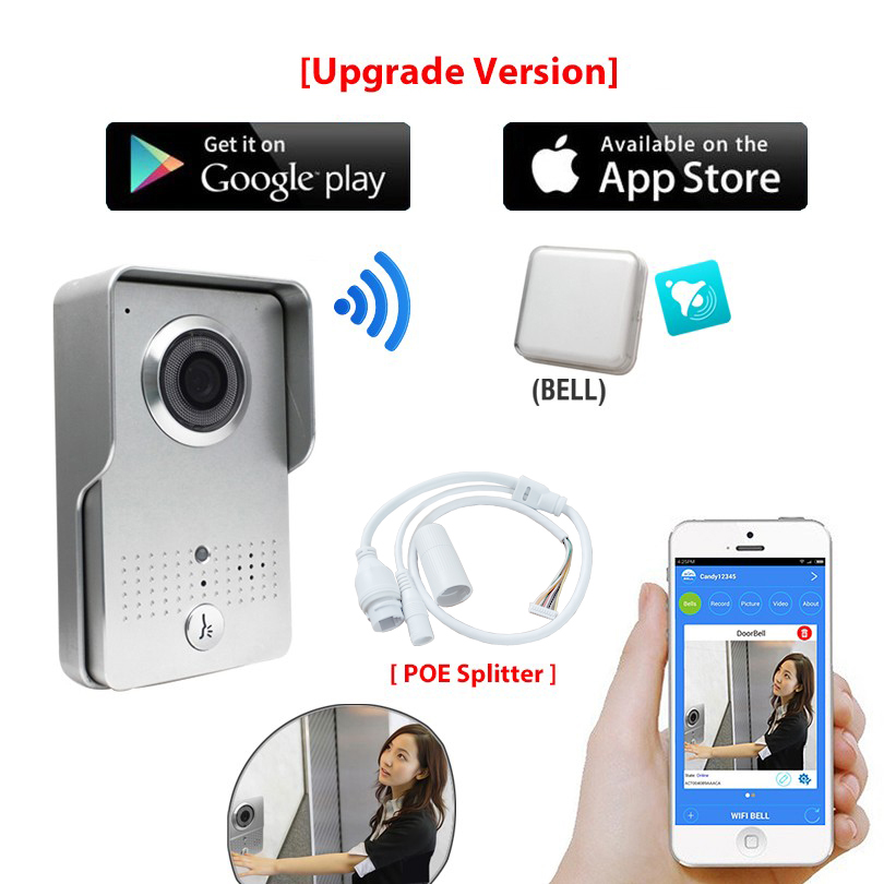 [Upgrade Version] HD 720P Wireless Wifi Video Door Phone Intercom Doorbell Outdoor Camera + Indoor Bell +New APP For Cell Phone