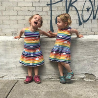 Sisters Sets Baby Summer American and European Summer Kids Girl Rainbow Striped Three dimensional Dress Family Matching Outfit