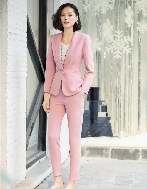 9e1a6998b894 New Style Casual Pink Blazer Women Business Suits Formal Office Suits Work  Ladies Pant and Jacket Set Pantsuits