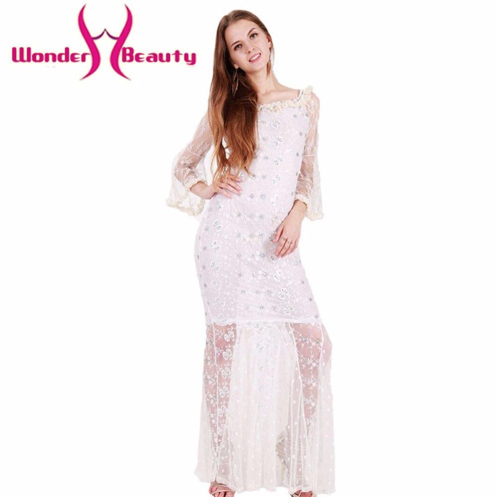 Wonder Beauty White Lace Elegant Long Sleeve O Neck -3262