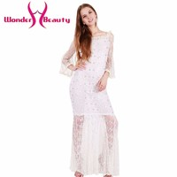 Wonder beauty White Lace elegant long sleeve O neck Slightly transparent casual work office dress Girl prom ball party dress