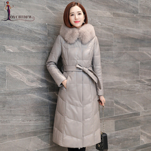 Outerwear 2018 New Winter Genuine Leather Down Jacket Women Long Fox Fur Collar Hooded parkas Slim Quality Sheep Skin jacket 736