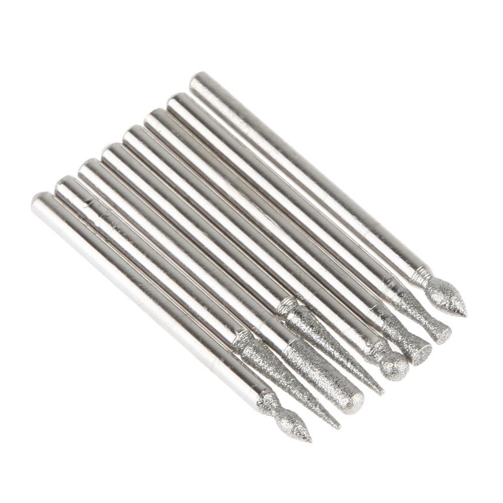 50 PCS Jewelry Tools DIY Metalworking Grinding Diamond Rotary Burrs Fits Dremel Rotary Tool for Stone/Ceramic/Glass/Carbide/Gem