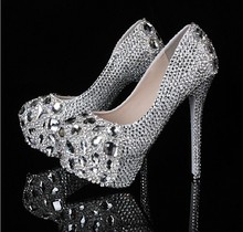 Silver Custom Make Diamond Lady Shoeshigh heel crystals and rhinestones bridal wedding shoes for Wedding Party plus size