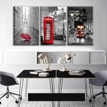 Modern Wall Art Framework Canvas Pictures 3 Pieces Paris Black White Eiffel Tower Red Car Umbrellas Paintings Posters Home Decor(China)