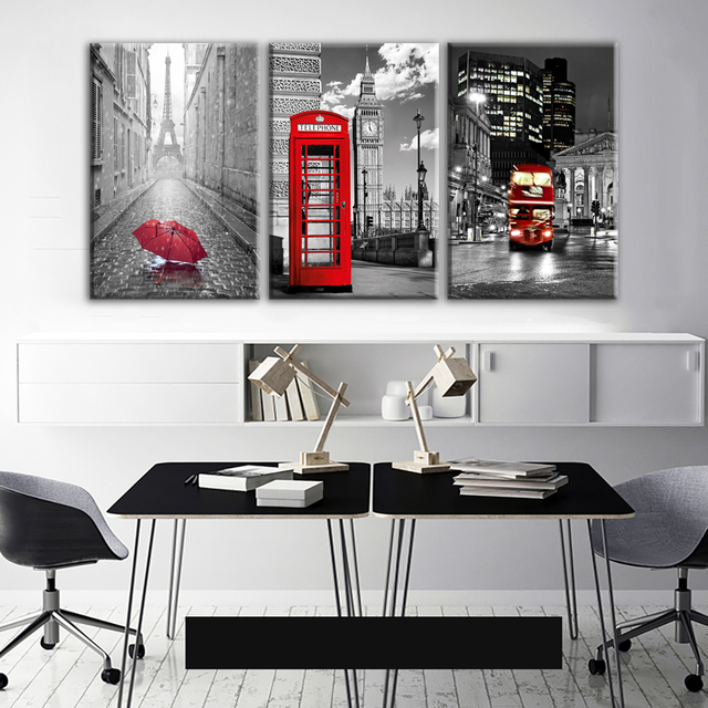 Modern Wall Art Framework Canvas Pictures 3 Pieces Paris Black White Eiffel Tower Red Car Umbrellas Paintings Posters Home Decor