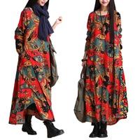 New 2017 Spring Women Dress Vintage Printed Plus Size Maxi Dress long sleeve Cotton and Linen O-Neck irregular Female long Dress