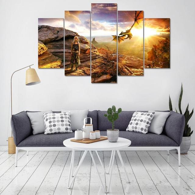 Wall Art Poster Home Decoration Modern Canvas 5 Panel Game Of Thrones For Living Room HD Print Painting Modular Pictures Frame  1