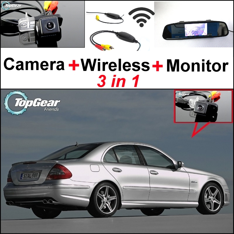 Special WiFi Camera + Wireless Receiver + Mirror Monitor 3in1 Easy DIY Parking System For Mercedes Benz MB E Class W211 3 in1 special rear view camera wireless receiver mirror monitor back up parking system for citroen ds3 ds 3 2009 2015