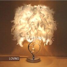 Başucu okuma odası fuaye oturma odası oturma kalp şekli beyaz tüy kristal masa lamba ışığı