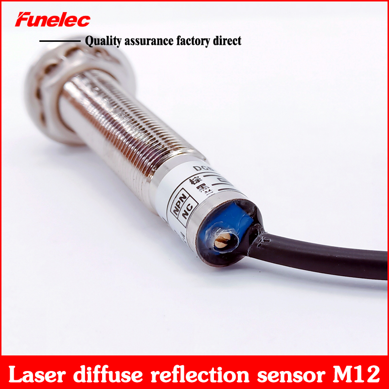 M12 Laser Diffuse Reflection Photoelectric Switch Visible Light Sensor Infrared Sensor PNP NC Distance Adjustable