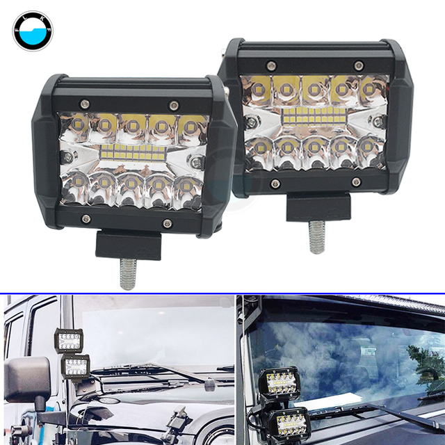 Waterproof 4 inch 60W LED Strip Light Working Refit Off-road Vehicle Light LED Car Work Light Two Rows light .