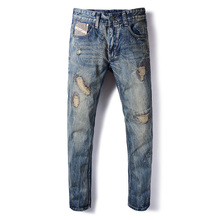 European Retro Design Fashion Mens Jeans Slim Fit Vintage Patchwork Ripped Jeans For Men DSEL Brand Biker Jeans Men Casual Pants new designer dots print biker jeans men character ripped patchwork casual men s jeans pants 100