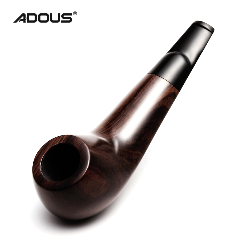 2019 New ADOUS Ebony Pipe Trumpet Style Short Paragraph AH652 Chinese Tobacco Pipe Smoking  Pipes