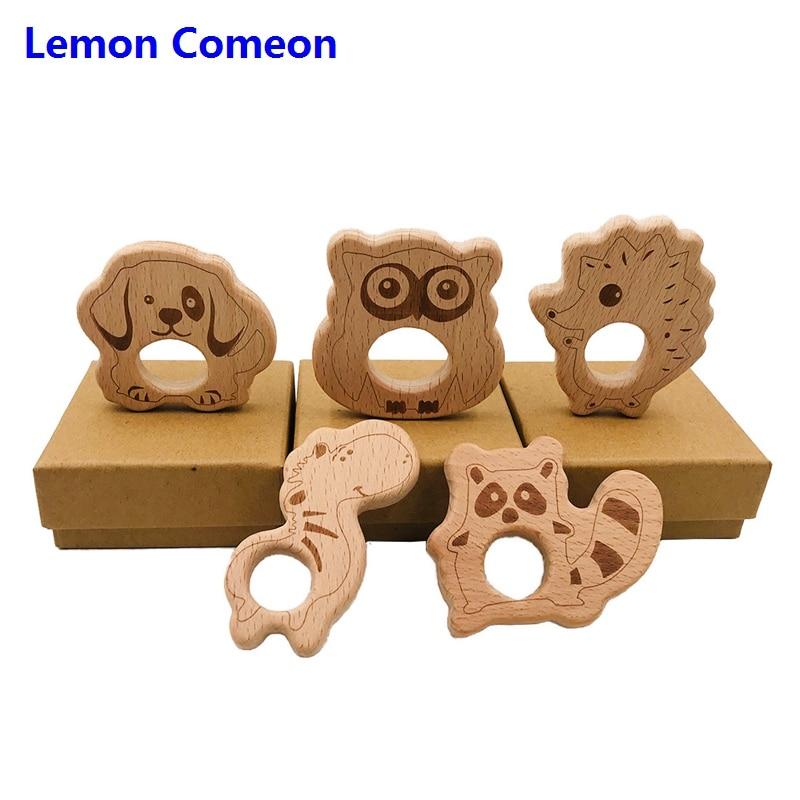 5Pc Baby Teether Beech Wooden Teething Toy Animals Raccoon hedgehog Accessories Kid Pendant Nursing Holder