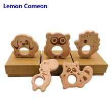 5Pc Baby Teether Beech Wooden Teething Toy Animals Raccoon hedgehog Accessories Kid Pendant Nursing Holder