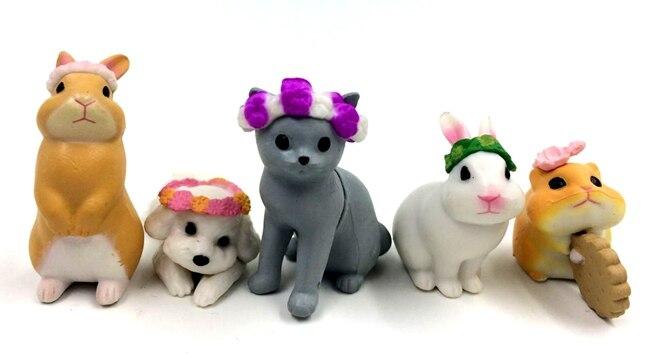 5pcs lot 3 4cm kawaii cute animal cat rabbit dog action figure set collectible model font
