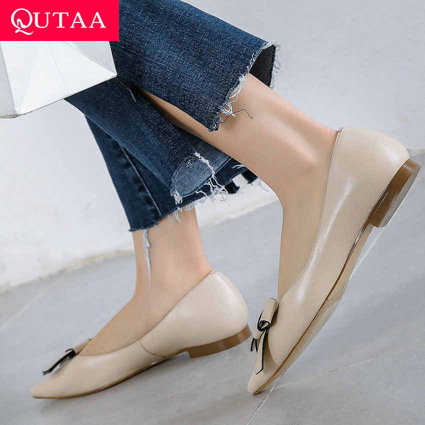 QUTAA 2019 Elegant Sheepskin + pu รองเท้าสตรีแพลตฟอร์มชี้ Toe รองเท้าส้นสูงผู้หญิงปั๊มทั้งหมดผู้หญิงสุภาพสตรีปั๊มขนาด 34 39-ใน รองเท้าส้นสูงสตรี จาก รองเท้า บน   1